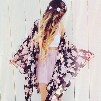 blouse chandail kimono fleur rose noir black