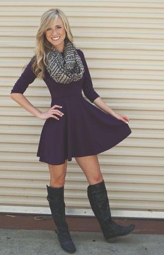 dress purple dress purple plum cute dress knee length dress