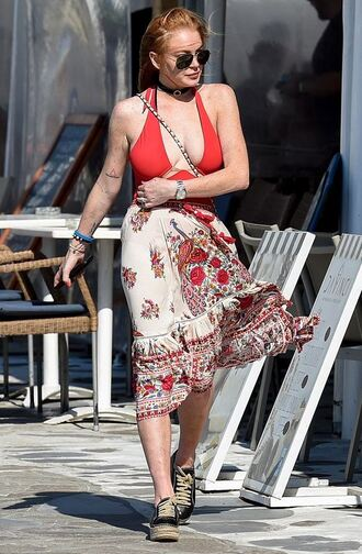swimwear lindsay lohan summer one piece swimsuit top red red swimwear round sunglasses sneakers midi skirt summer outfits