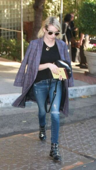 coat blazer emma roberts ankle boots shoes