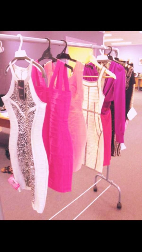 pink dress white dress