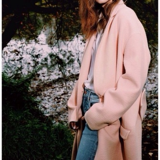 classy long coat baby pink boyfriend jeans pink coat winter coat