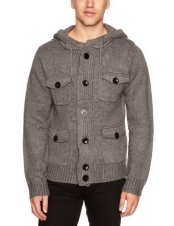 le breve Jewel Men's Cardigan Charcoal Small: Amazon.co.uk: Clothing
