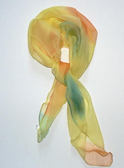 Soft Yellow Bandana Silk Scarf Hand Painted by jingjingdesign