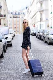 romper,tumblr,long sleeves,long sleeve romper,suitcase,sneakers,white sneakers,polka dots,bag,annestikvoort,blogger