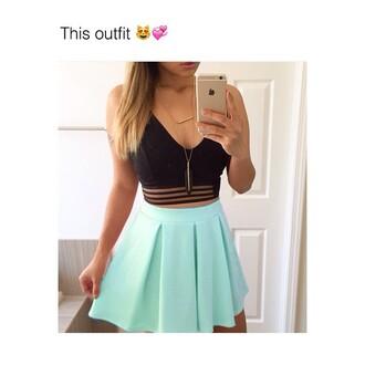 skirt mint tank top