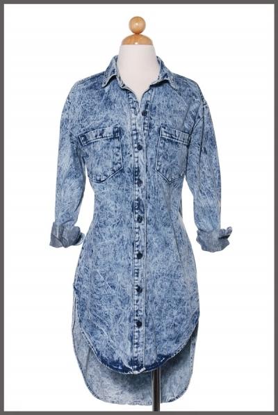 3a6670220e9 Light Acid Wash Denim Shirt Dress