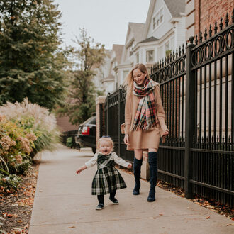 kelly in the city - a preppy chicago life style and fashion blog blogger shoes leggings sweater fall outfits over the knee boots mother and child sweater dress