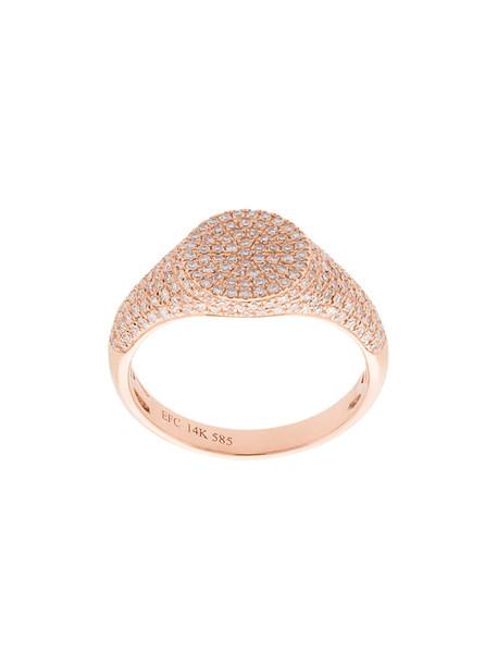 EF COLLECTION rose gold rose women ring gold grey metallic jewels