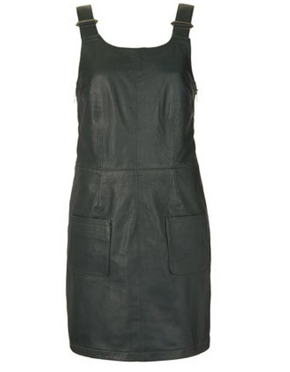 TOPSHOP DARK GREEN LEATHER PINAFORE DUNGAREE MINI PARTY DRESS XS 6 2 34 RARE NEW | eBay