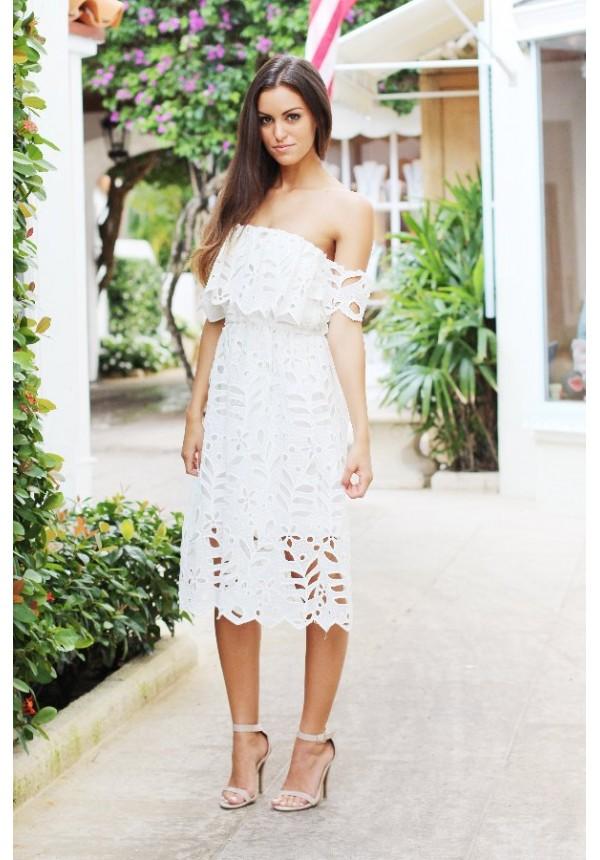 White lace off the shoulder midi dress  dc99cb397e22