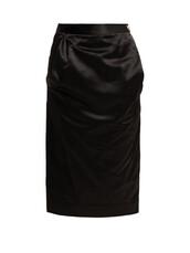 skirt,pencil skirt,black,satin