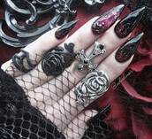 jewels,goth,ring,rose,rose ring,plastic,silicone,jewelry,black,vine,climber,wrap around,wrap ring,black wrap ring,nails,claws,mesh,roses,cross