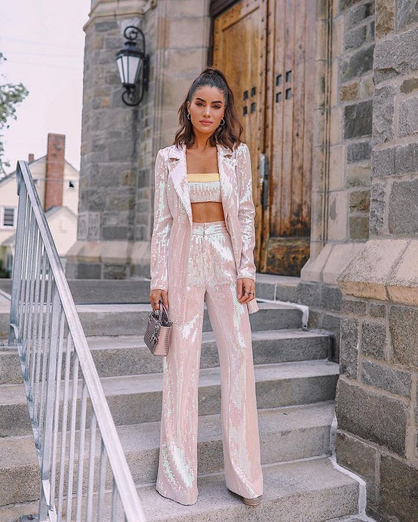 jacket pants wide-leg pants blazer top c crop tops bag sequins pink sequins