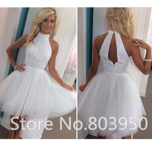 Aliexpress.com : Buy Plus Size Dresses For Prom High Neck Keyhole Back  Beading Corset Homecoming Dress Romantic Tulle 8th Grade Graduation Dresses  ...