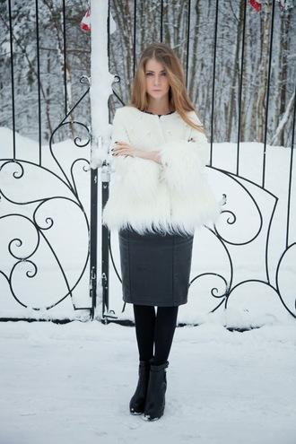acid coke blogger pencil skirt white jacket fluffy coat top skirt shoes