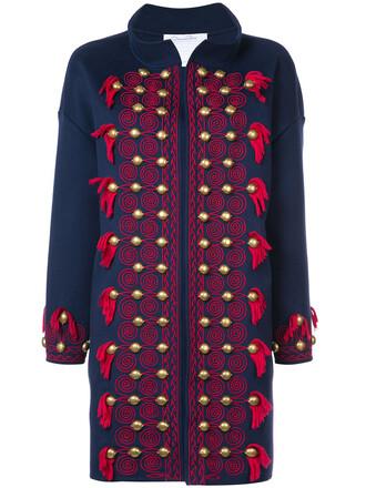 coat tassel women blue wool