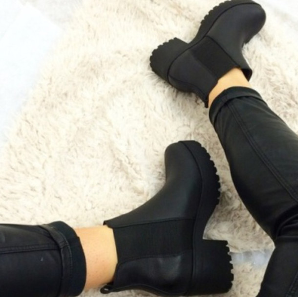 shoes black platforms booties chelsea boots