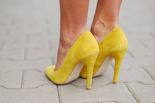 shoes heels yellow