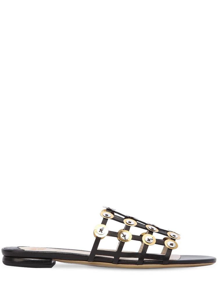 ERNESTO ESPOSITO 10mm Cage Leather Slide Sandals in black
