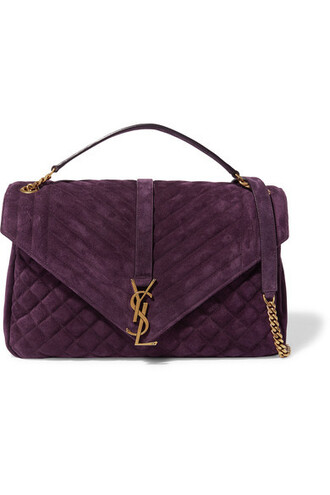 quilted bag shoulder bag suede plum