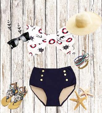 shirt sailor top high waisted bikini summer outfits beach slippers flat sandals bow bandeau bow bikini bow top women top bra