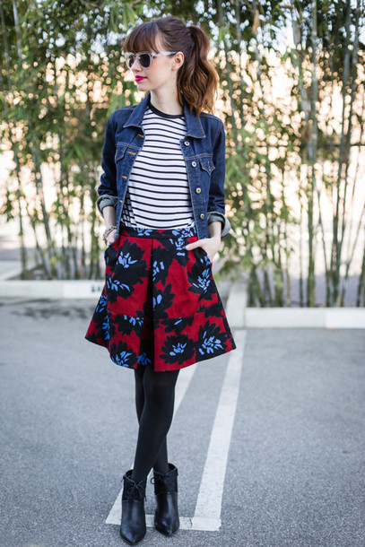 m loves m blogger skirt sunglasses striped top denim jacket pattern