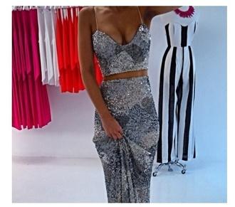 dress sequin silver prom dress separates tight unique maxi crop tops spaghetti strap
