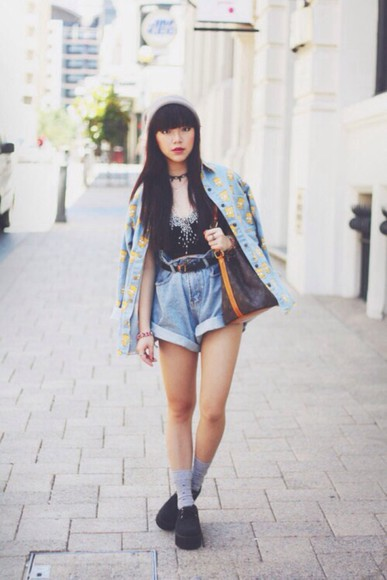jacket socks top new york city denim streetstyle creepers bag bart simpson bart simpson print High waisted shorts louis vuitton