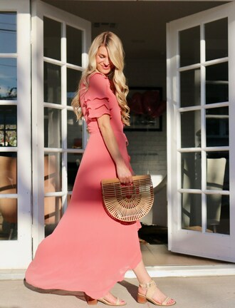 ashn'fashn blogger jewels dress bag shoes cult gaia bag pink dress sandals maxi dress