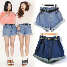Women High Waisted Oversize Crimping Washed Denim Jeans Shorts ...