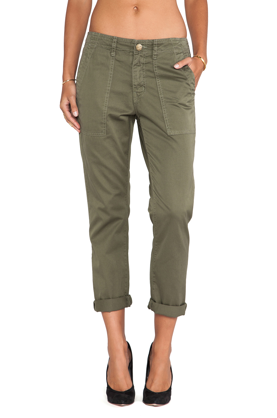 Current/Elliott The Army Buddy Trouser in Army Green from REVOLVEclothing.com