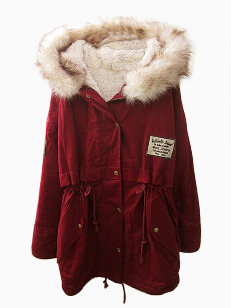 Faux Fur Winered Shearling Padded Coat | Choies