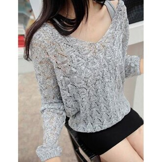 sweater grey grey sweater off the shoulder off the shoulder sweater warm comfy knitwear knitted cardigan knitted sweater college asian cute cozy off the shoulder top casual fashion vibe winter sweater winter outfits streetwear rose wholesale style fine knit jumper pretty