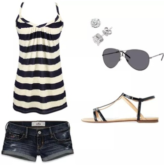 tank top stripes black and white
