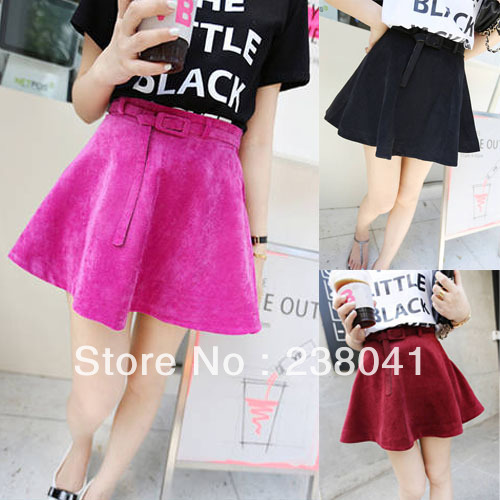 New Women Girl Fashion Velvet Flared Mini Skater Sundress Skirt With Belt Free Shipping-in Skirts from Apparel & Accessories on Aliexpress.com