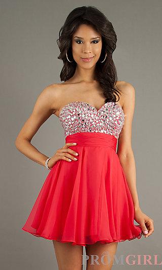 Strapless Short Prom Dresses, Beaded Strapless Dresses- PromGirl