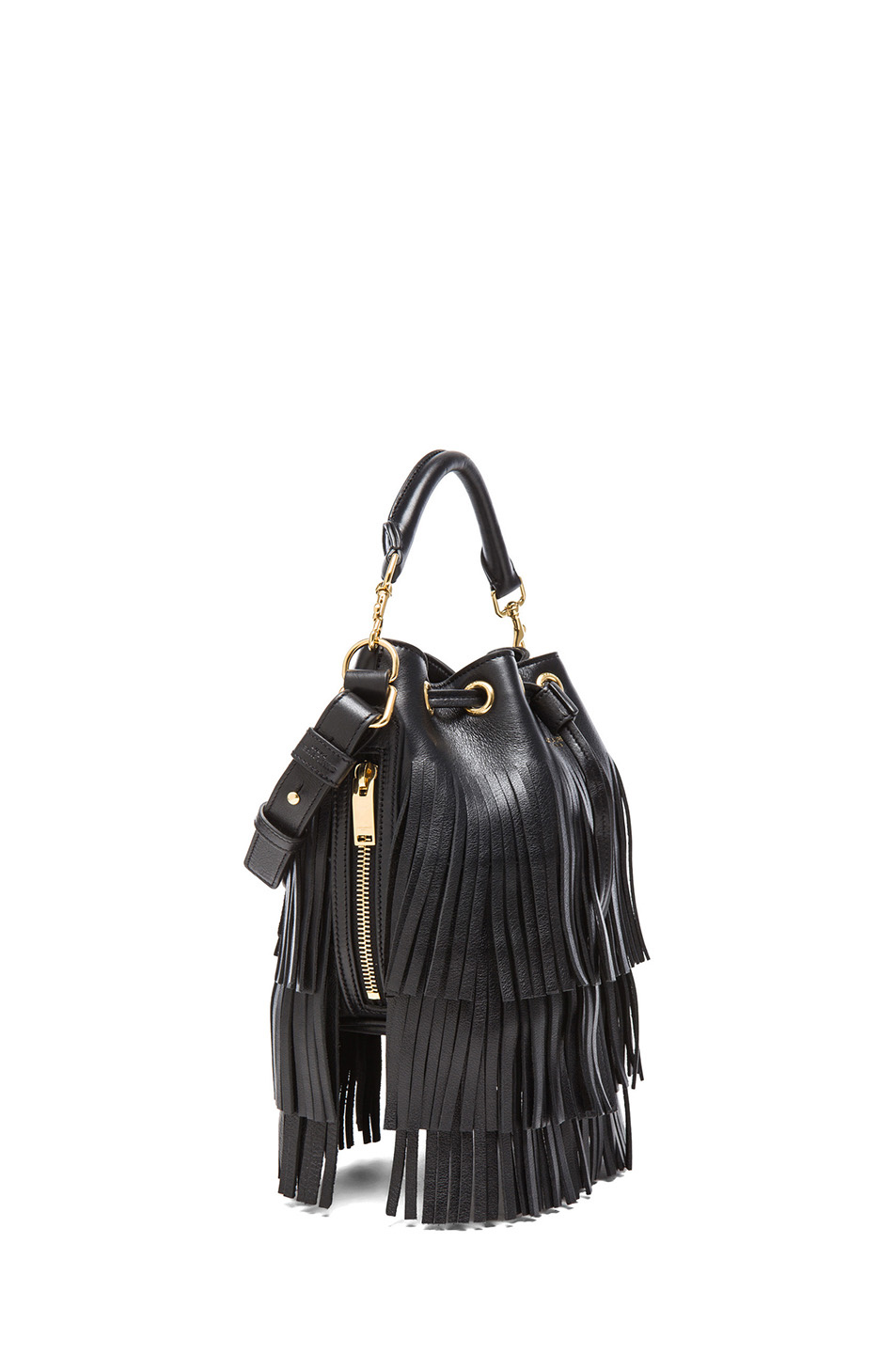 Saint Laurent | Small Fringe Bucket Bag in Black