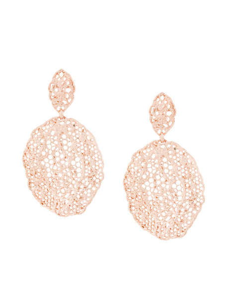 AURELIE BIDERMANN vintage women earrings lace gold grey metallic jewels