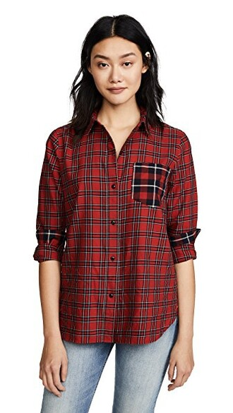 shirt classic boyfriend plaid red top