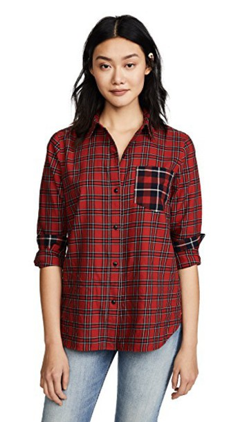 Madewell shirt classic boyfriend plaid red top