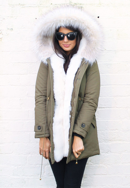 Full Faux Fur Trim Parka in Khaki Green with White