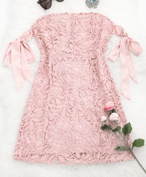 dress girly pink pink dress lace lace dress off the shoulder off the shoulder dress