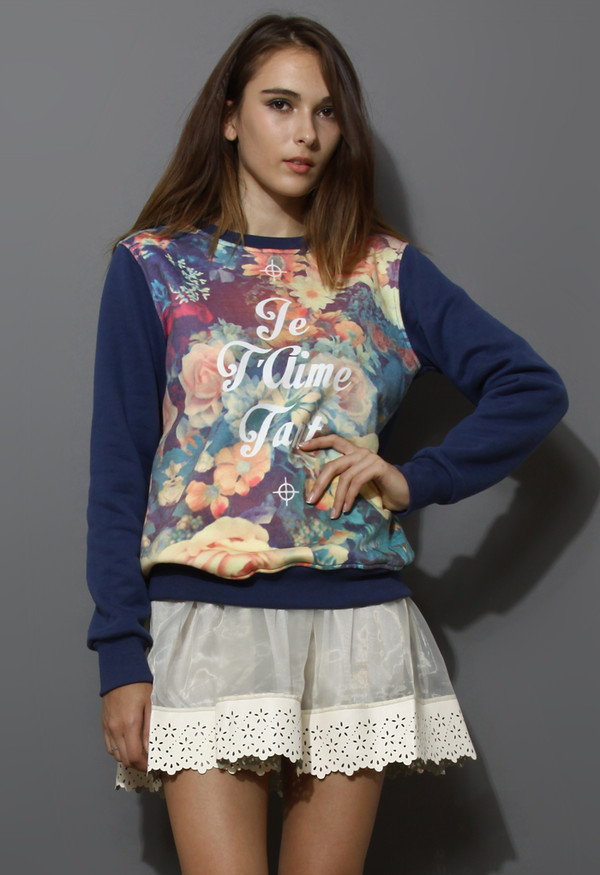 sweater retro floral print navy blue