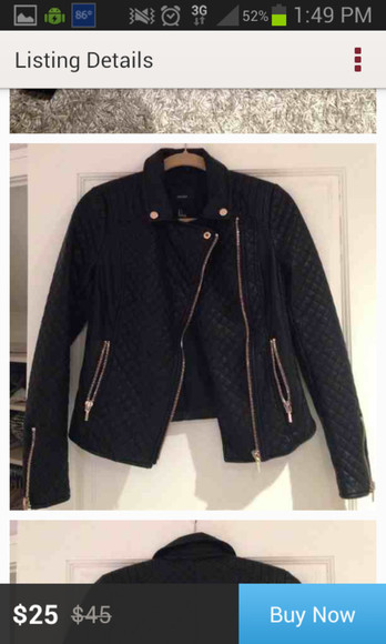 jacket motorcycle jacket black faux leather quilted detail gold fitted small forever 21 biker