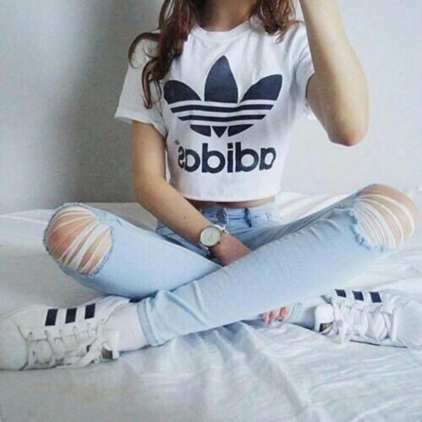 07787ba96198 shirt adidas hair accessory shorts it girl shop white model pants pants  jeans