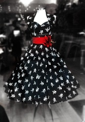 dress,black and white,halter dress,skull and cross bones print,red,50s style,pirate