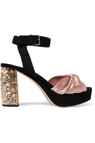 embellished sandals platform sandals suede satin rose black shoes