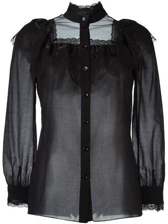 blouse folk black top