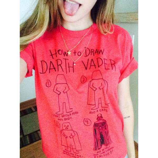 t-shirt darth vader star wars t-shirt red draw leia lanita youtube